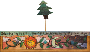 Sticks handmade coat rack with sun and moon motif and pine tree finial
