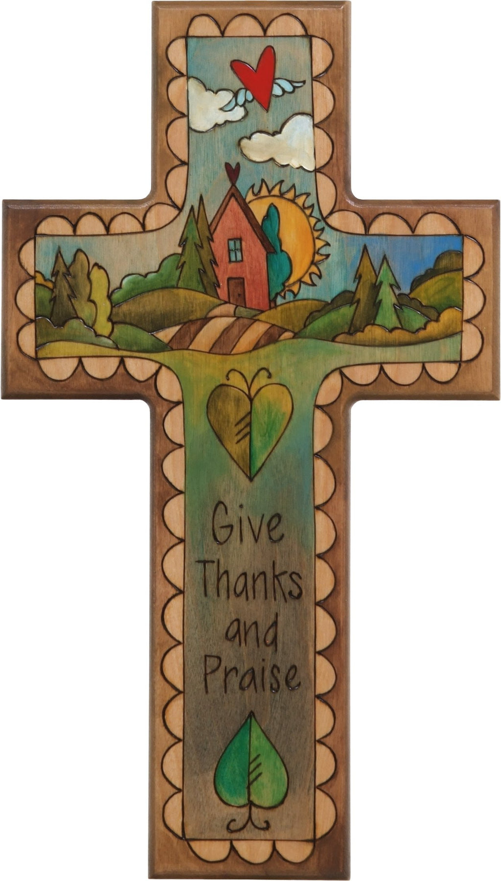 Cross Plaque –  Give Thanks and Praise cross plaque with sun and home on the horizon motif