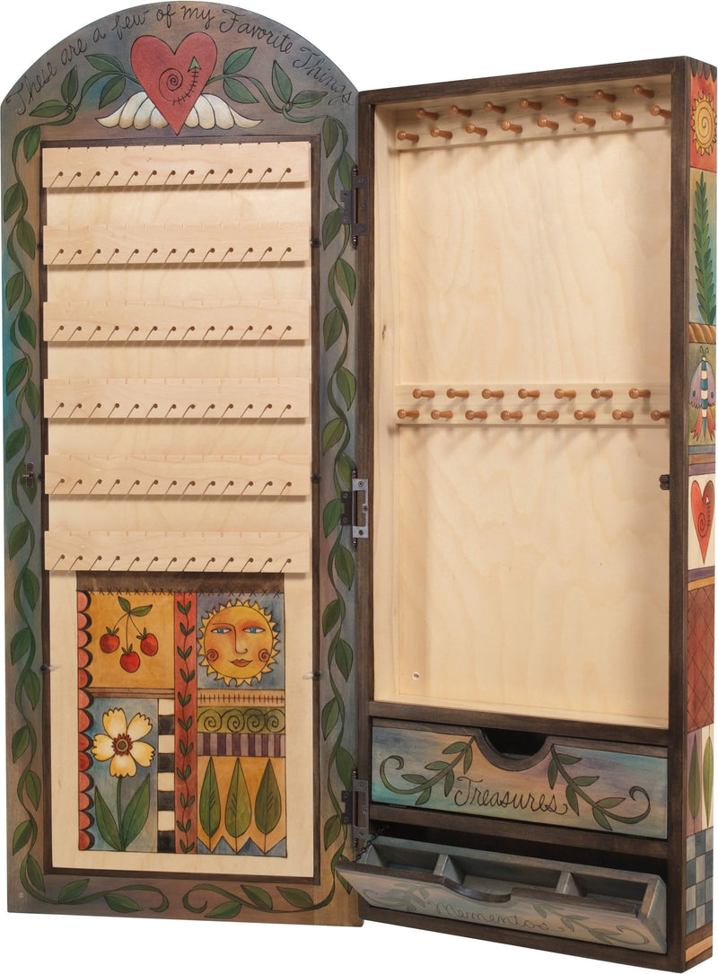 "Jewelry Cabinet –  ""These are a Few of My Favorite Things"" jewelry cabinet with beautiful floral motif"