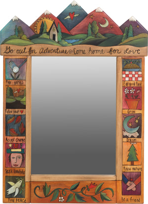 "Medium Mirror –  ""Go out for Adventure/Come Home for Love"" mirror with sunset on the colorful mountains motif"