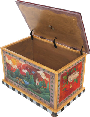 Chest with Leather Top –  Four Seasons chest with leather top with four seasons landscapes motif