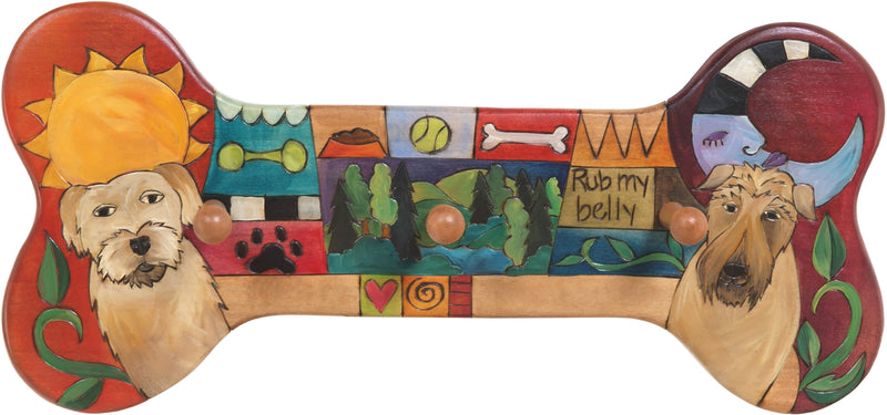 Horizontal Dog Leash Rack –  Dog bone shaped leash rack with sun and moon, pups, and colorful block icons