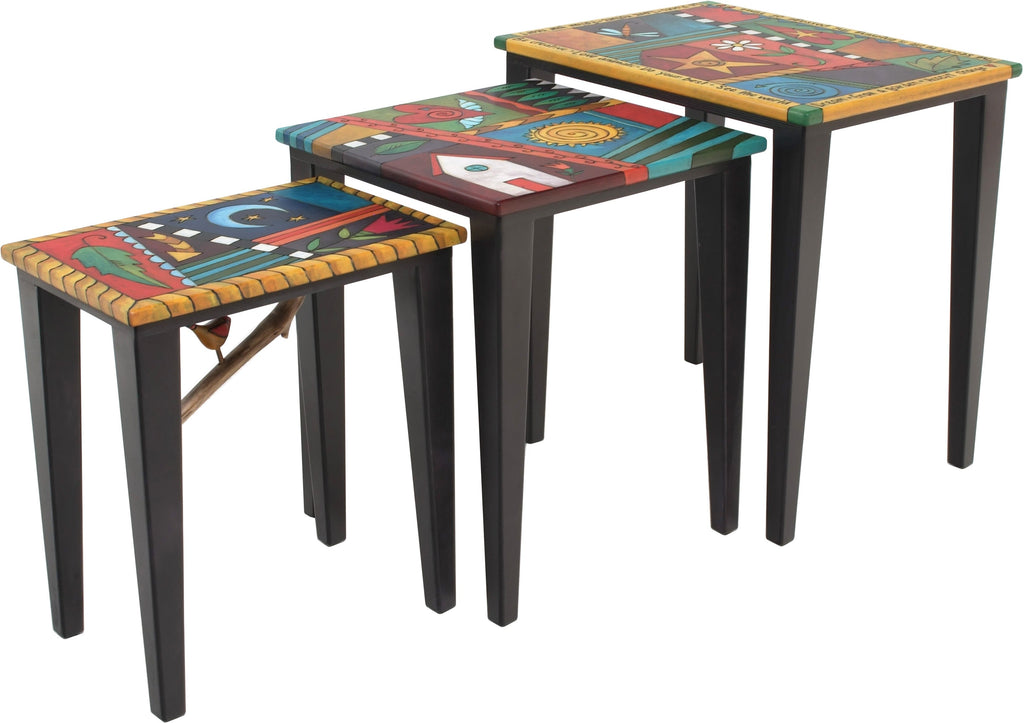 "Nesting Table Set –  ""Be Creative"" nesting table set with colorful quilt like motif with home, sun and moon"