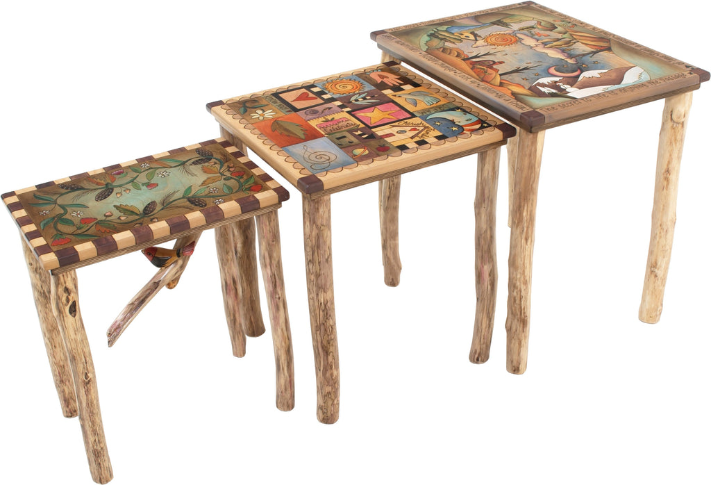 "Nesting Table Set –  ""The Secret to Life is Enjoying the Passage of Time"" nesting table set with beautiful landscape of the changing seasons motif"
