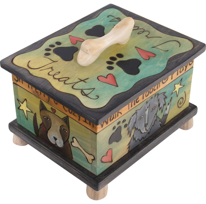 Pet Treat Box – Blue and green dog treat box with cute pups and floating icons