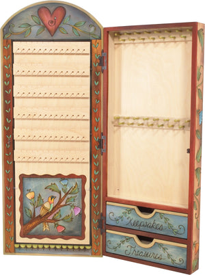 "Jewelry Cabinet –  ""Keepsakes & Treasure"" jewelry cabinet with two birds sitting under the sun motif"