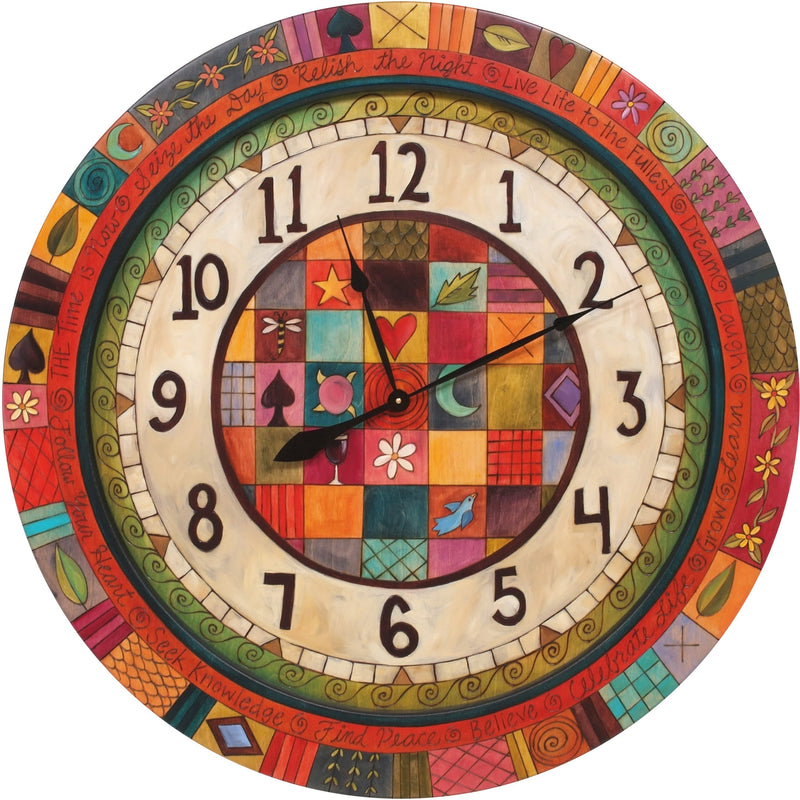 "Sticks handmade 36""D wall clock with colorful block folk art design"