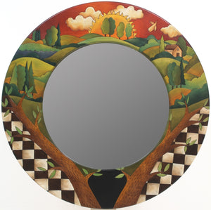 Large Circle Mirror –  Beautiful rolling landscapes mirror in a round format with checks and branches in the foreground