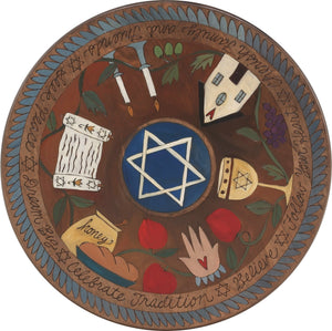 "20"" Lazy Susan – Dark and elegant judaica lazy susan with traditional icons and a blue scallop border"