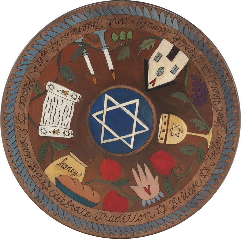 "Sticks Handmade 20"" judaica lazy susan in dark hues with star of david in the center"