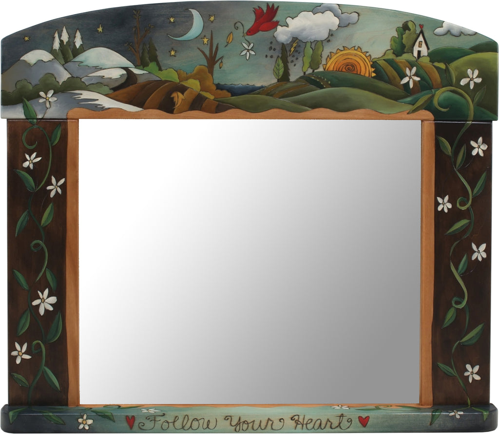 "Large Horizontal Mirror –  ""Follow your heart"" four seasons landscape motif with floral vines wrapping around the sides"