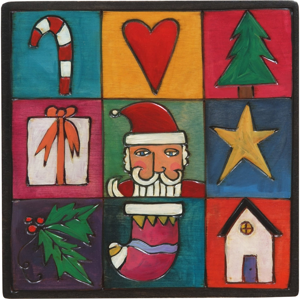 "7""x7"" Plaque –  Holiday plaque with colorful block icons"