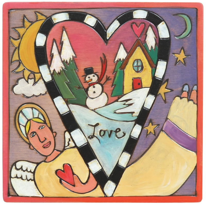 "Sticks handmade wall plaque with ""Love"" quote, an angel, and a snowy landscape within a heart shape"