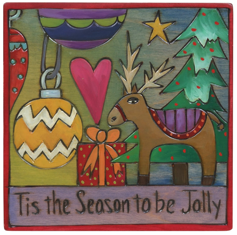 "Sticks handmade wall plaque with ""Tis the Season to be Jolly"" quote and seasonal decor"