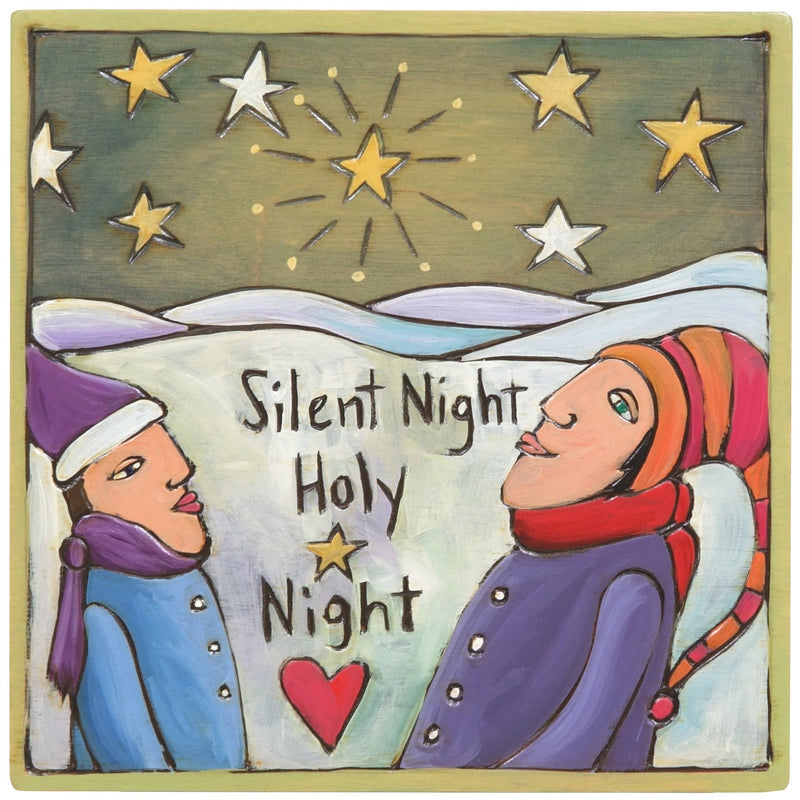 "Sticks handmade wall plaque with ""Silent Night, Holy Night"" quote and winter landscape imagery"