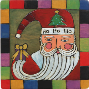 "Sticks handmade wall plaque with ""Ho-Ho-Ho"" quote and colorful santa motif"
