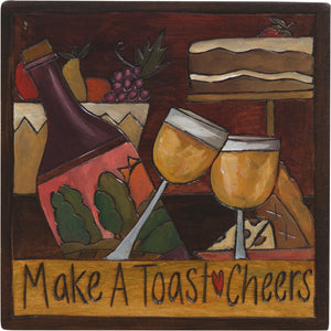 "7""x7"" Plaque –  ""Make a toast"" cheers with wine motif"