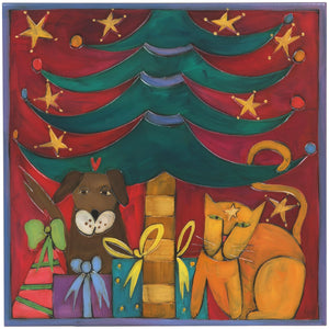Sticks handmade wall plaque with Christmas tree and presents theme, a cat and a dog