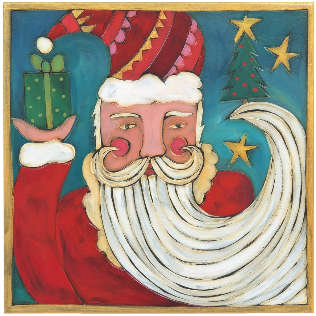 Sticks handmade wall plaque with Santa Claus holding a gift