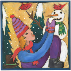 "10""x10"" Plaque –  Holiday plaque with snowman, cardinals and snowballs"