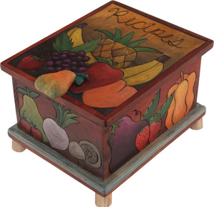 "Recipe Box – ""Recipes"" box with a harvest of fruit and vegetables in a rich, warm color palette"