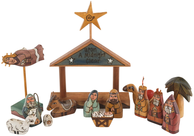 "Small Nativity –  ""Upon a Midnight Clear"" nativity with dark blue roof"