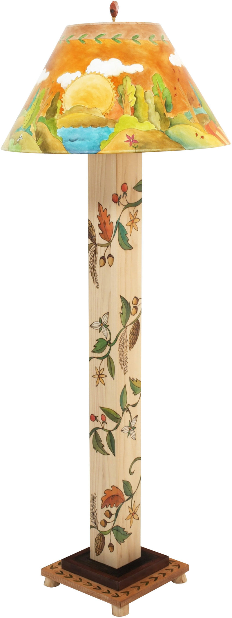 Box Floor Lamp –  Beautiful and elegant floor lamp featuring a circular four seasons landscape painting and vine motifs