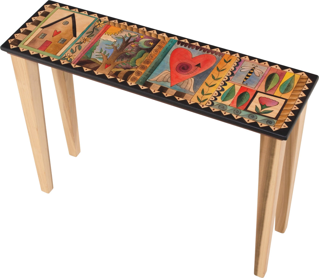Sticks handmade console table with colorful life icons