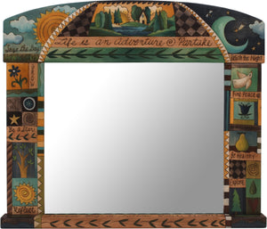 "Large Horizontal Mirror –  ""Life is an adventure, partake"" beautiful cool-toned crazy quilt mirror design"
