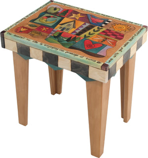 Rectangular End Table –  Lovely neutral end table with colorful block icons