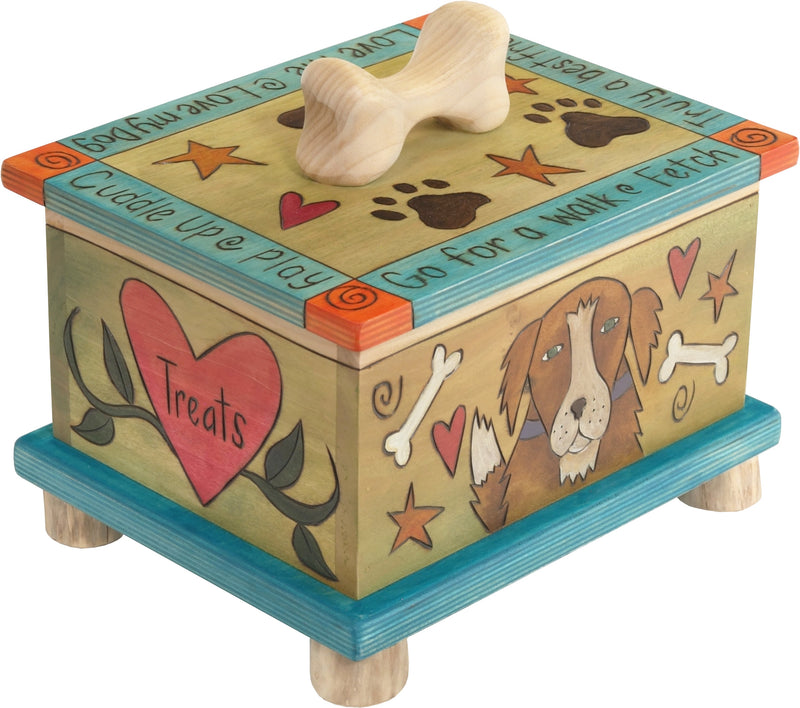 "Pet Treat Box – Colorful and playful dog treat box with ""treats"" in hearts and pups on the sides"