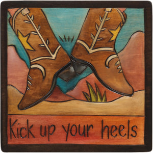 "7""x7"" Plaque –  ""Kick up your heels"" dancing boots motif"