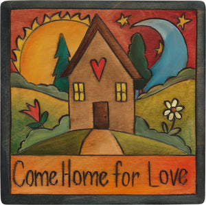 "Sticks handmade wall plaque with ""Come Home for Love"" quote and sun and moon landscape"