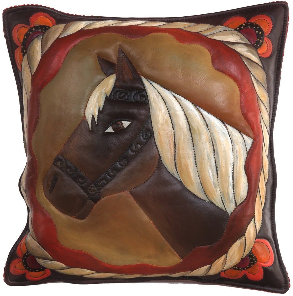 Leather Pillow –  Elegant and neutral horse pillow with rope border and floral motif