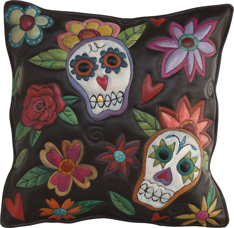 Leather Pillow –  Gorgeous sugar skulls pillow with floral motifs