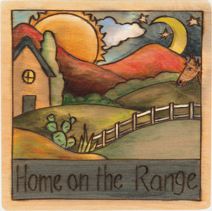"7""x7"" Plaque –  ""Home on the range"" home sweet home plaque"