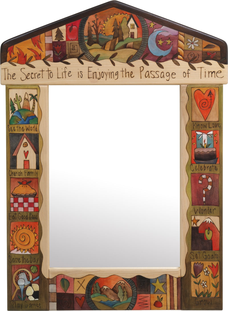 "Medium Mirror –  ""The Secret to Life is Enjoying the Passage of Time"" mirror with sunset on the rolling hills motif"