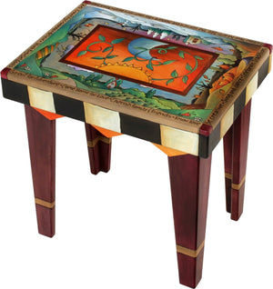 Rectangular End Table –  Beautiful end table with four seasons theme and vine motifs