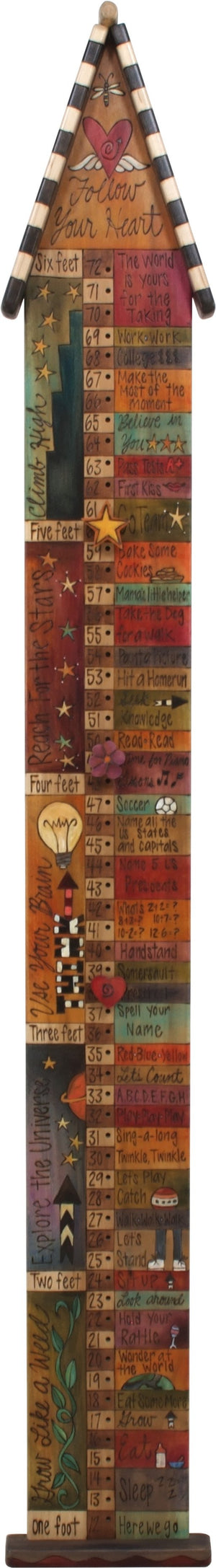 "Growth Chart with Pegs –  ""Follow Your Heart"" growth chart with pegs with heart and wings motif"