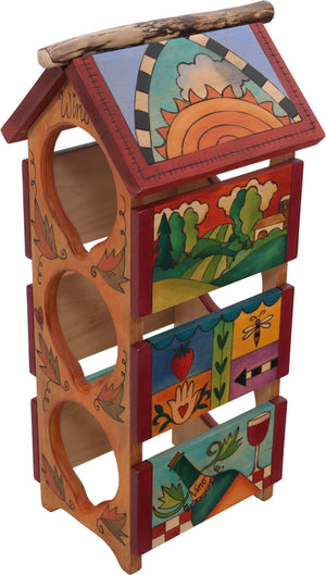 Sticks handmade wine rack with colorful landscape and folk art imagery