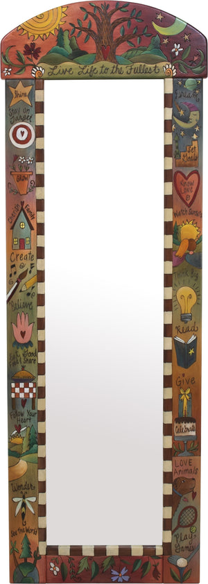 "Wardrobe Mirror –  ""Live Life to the Fullest"" mirror with sun and moon over tree of life motif"