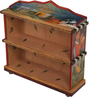 "Short Bookcase –  ""Live Life to the Fullest"" bookcase with sun and moon over scenes of the changing four seasons motif"