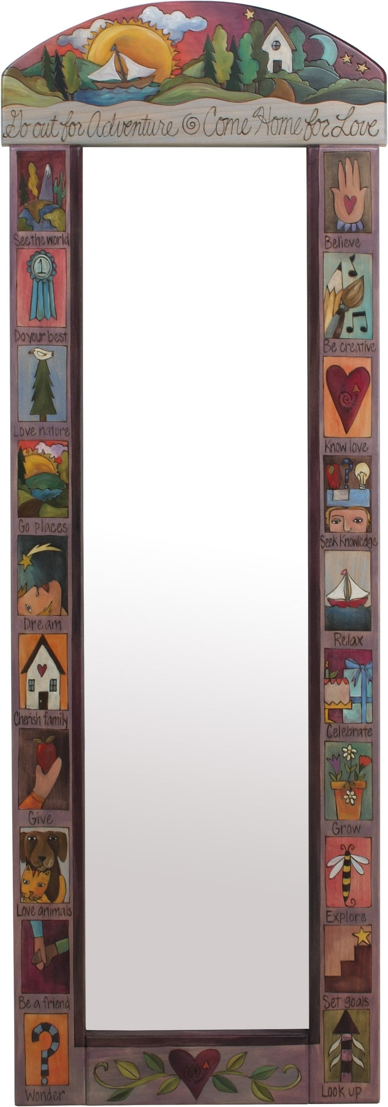 "Wardrobe Mirror –  ""Go Out for Adventure/Come Home for Love"" mirror with sun and moon over a cozy cottage in the hills motif"