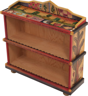"Short Bookcase –  ""Life is a Delight"" bookcase with beautiful scenery of trees on the rolling hills motif"