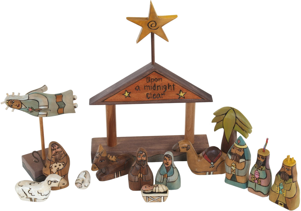 "Small Nativity –  ""Upon a Midnight Clear"" nativity with red roof"