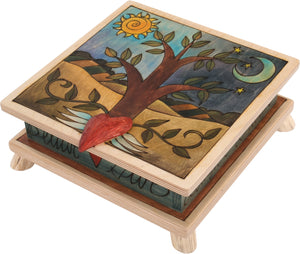 Keepsake Box – Classic tree of life in a rolling hills landscape motif with a heart handle