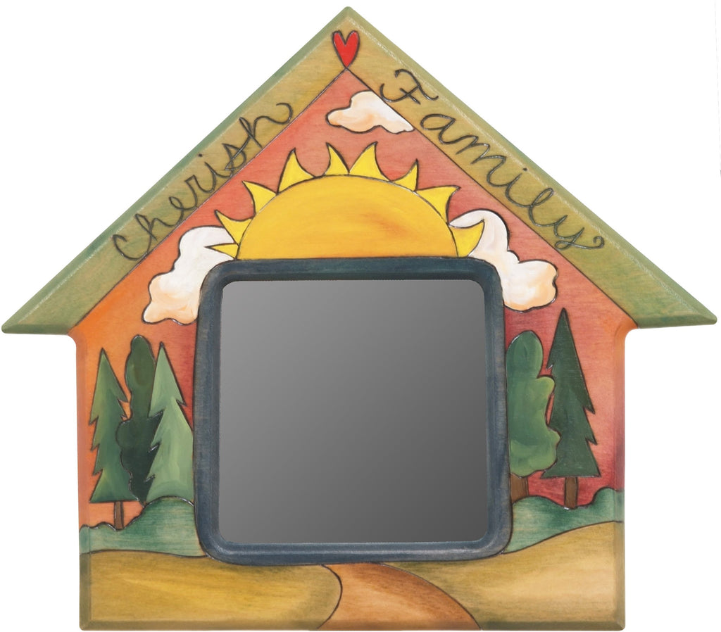 "House Shaped Mirror –  ""Cherish Family"" house-shaped mirror with warm sunset over the woods motif"