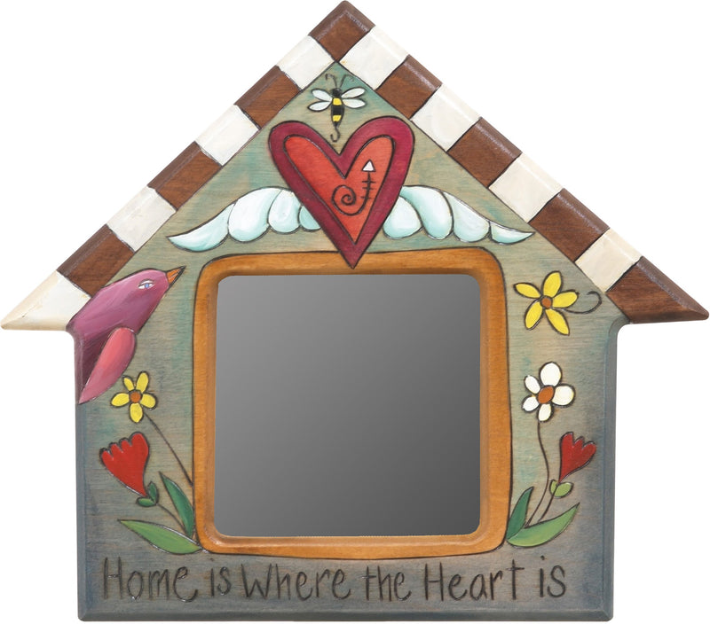 Sticks handmade house shaped mirror