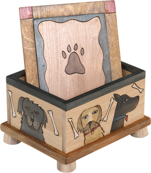 Pet Treat Box – Beautiful neutral dog treat box playing up the natural birch with dogs scattered about
