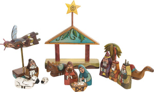 Small Nativity –  Small Nativity with vines on a blue roof